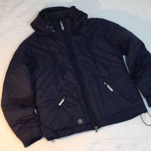 SESSIONS puffer hoodie jacket in navy size large